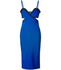 blue cut-out fitted dress