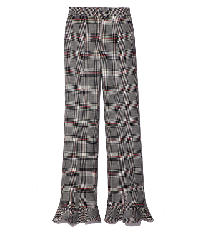 plaid frill trouser