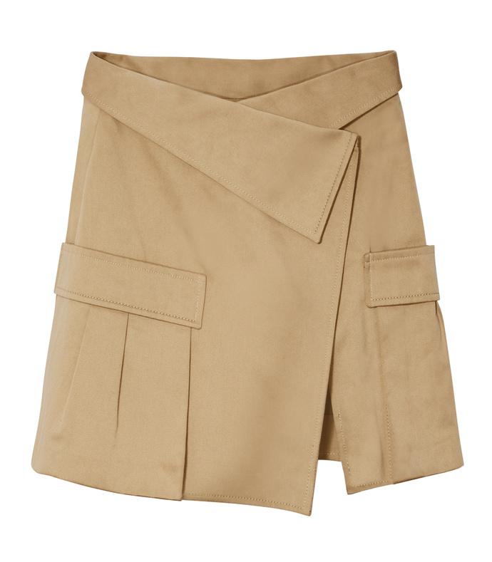 khaki canvas asymmetric skirt