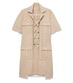 beige lace up safari dress