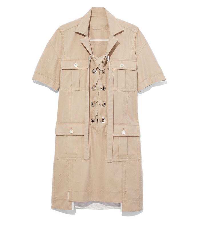beige lace up safari dress