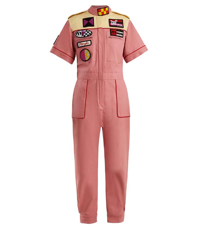 marilyn badge-applique cotton-blend jumpsuit