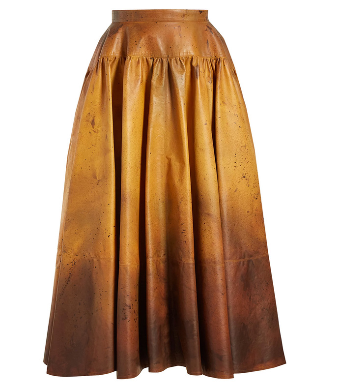 ombre leather skirt