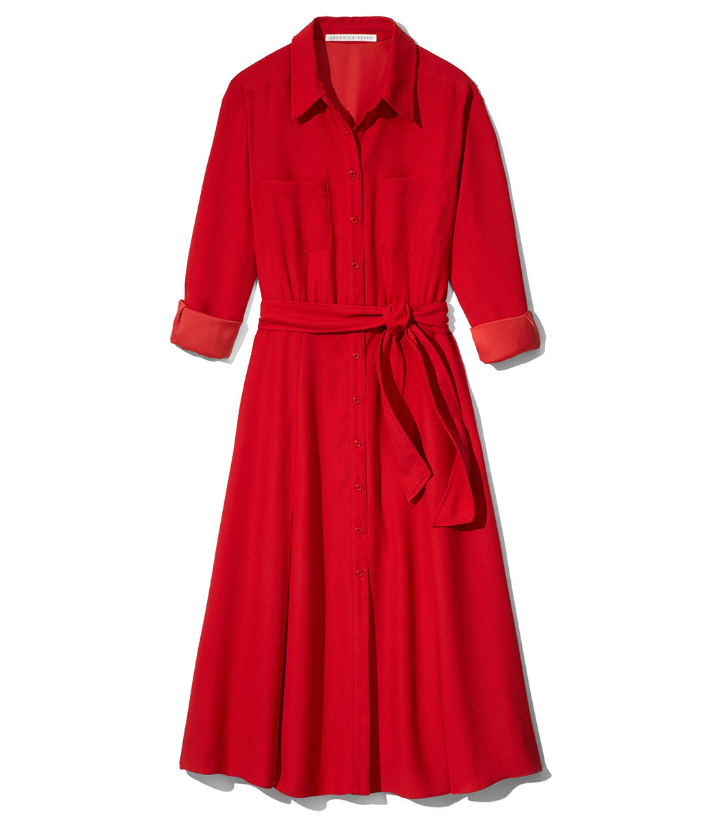 CARY BELTED CREPE MIDI DRESS