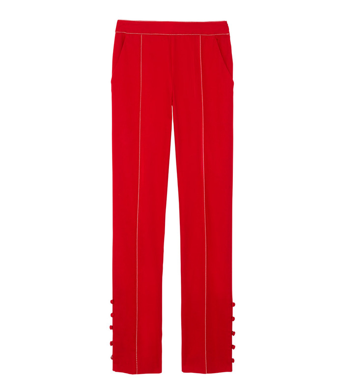 red oboe slim leg pant in cotton twill