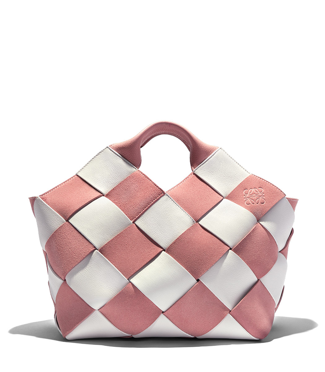 White and Pink Woven Gingham Mini Basket Bag