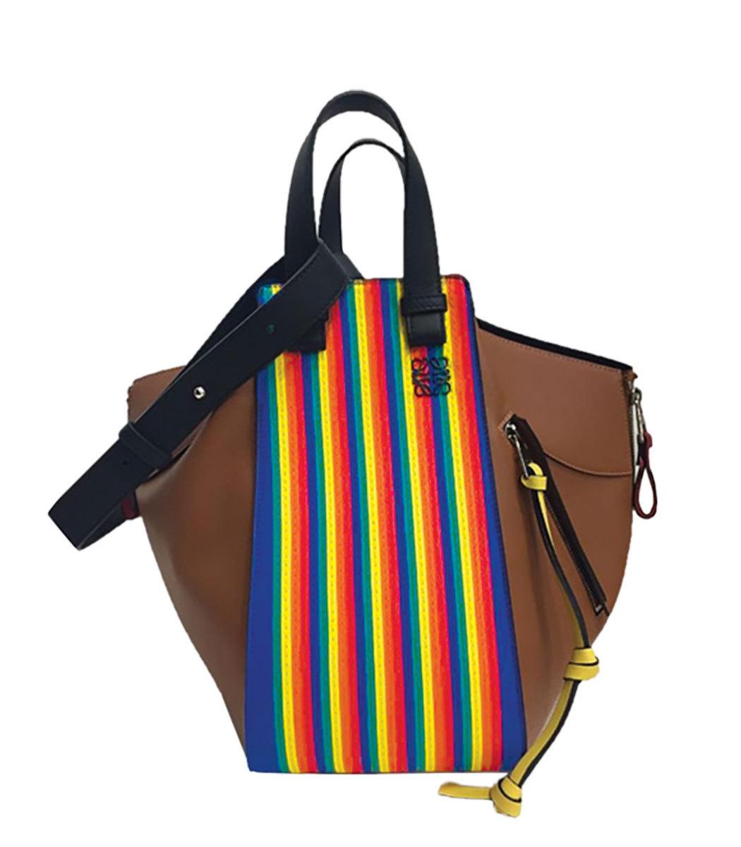Medium Rainbow Hammock Calfskin Leather Shoulder Bag - Brown, Multicolor/Tan