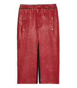 red leather & nubuck biker skirt