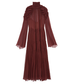 plum silk crepon smocked dress