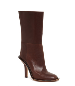 ShopBazaar Marni Brown Leather Stiletto Boot FRONT