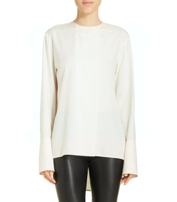 ShopBazaar Marni Ivory High-Low Blouse FRONT