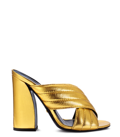 ShopBazaar Gucci Gold Sylvia Sandal MAIN