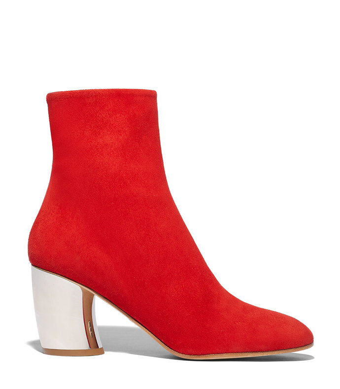 curved heel ankle boot