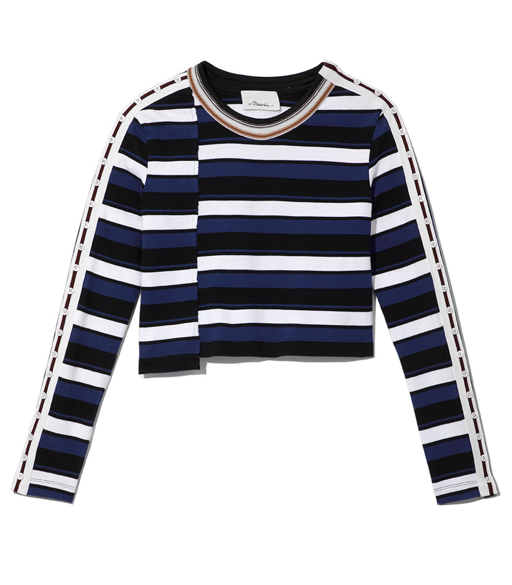 LS Striped Cropped Top