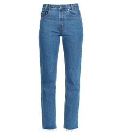 dark blue wide leg crop jean