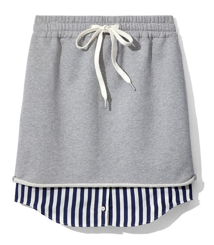 terry stripe combo pull on skirt