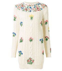 ShopBazaar Valentino Floral Embroidered Knit Dress MAIN