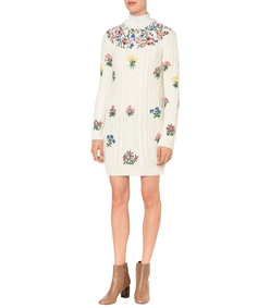 ShopBazaar Valentino Floral Embroidered Knit Dress FRONT