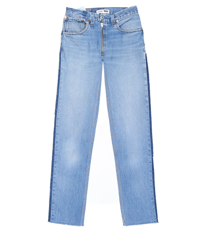 blue high rise relaxed zip crop jean