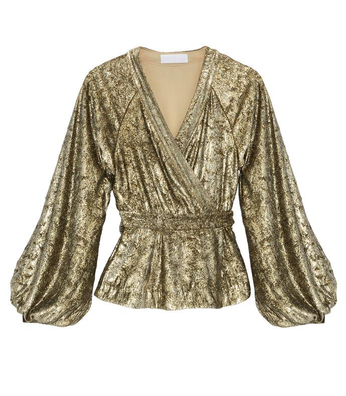 gold velvet tie-waist top