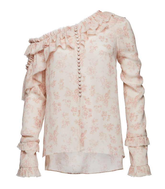 pink ruffled floral top