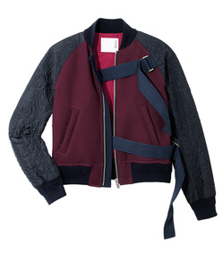 bordeaux & navy 'melton' bomber