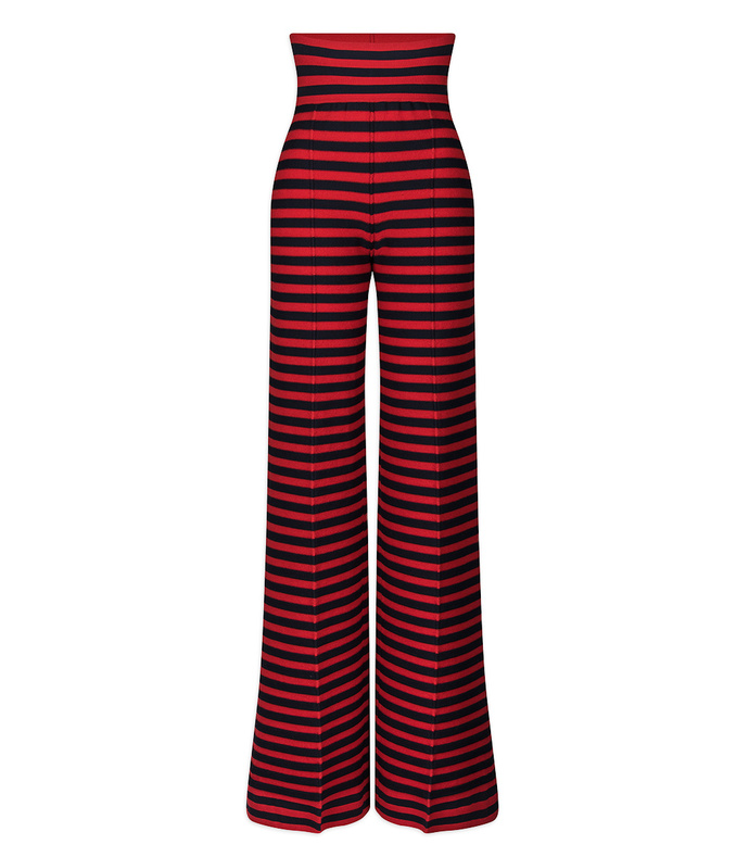 red & black high waisted striped pant