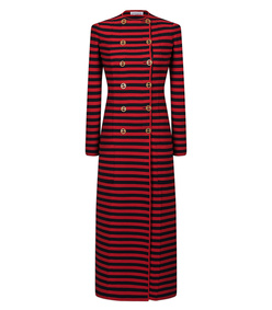 red & navy striped coat
