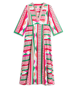 pink multi long sleeve caftan