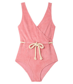 pink terry v-neck swimsuit