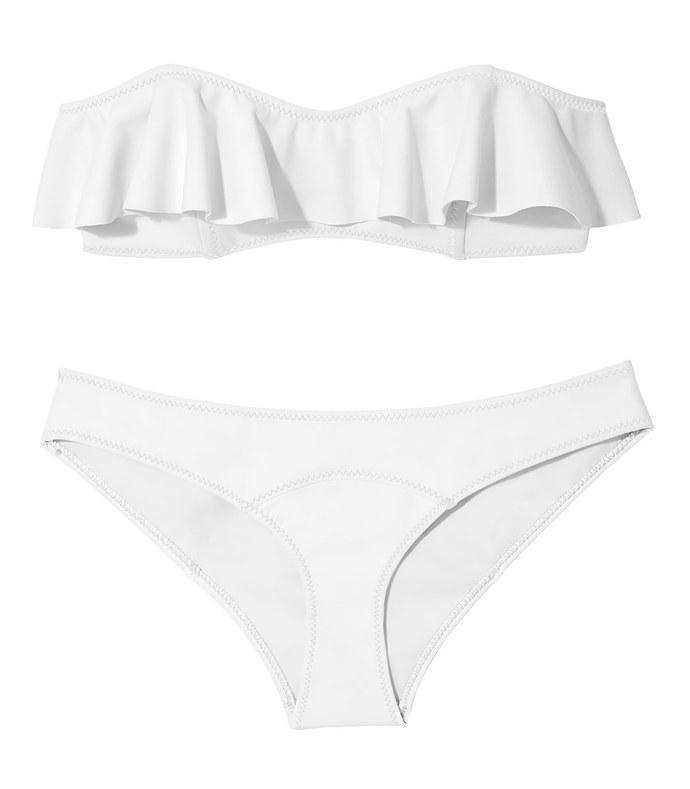 white 'sabine' double ruffle bikini
