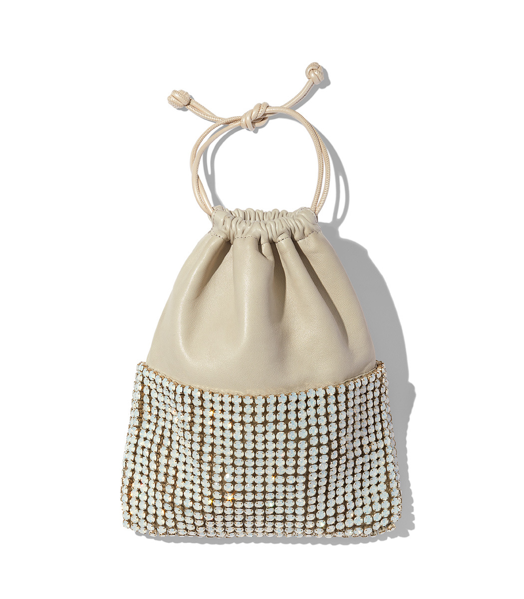 Ryan Crystal-Studded Drawstring Pouch Bag in Ivorybone