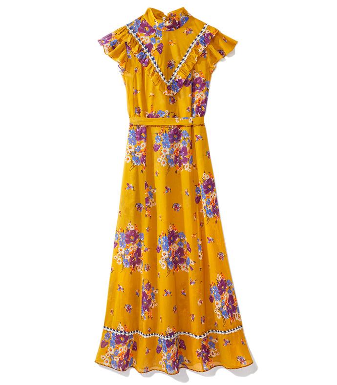 mustard daisy bouquet dress