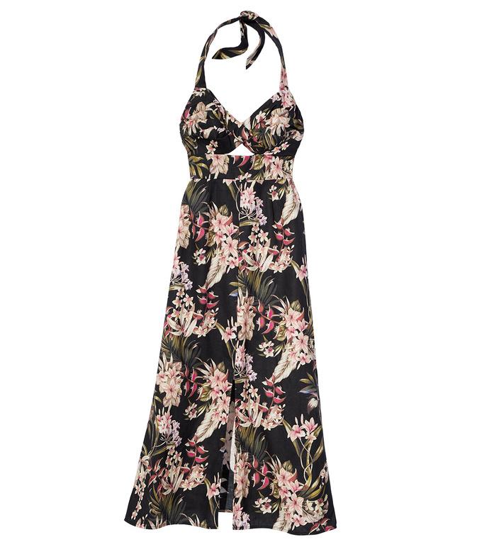 black 'curacao palm' twisted dress