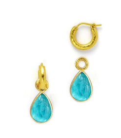 teal intaglio teardrop earring pendants