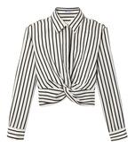 black & white stripe twist top