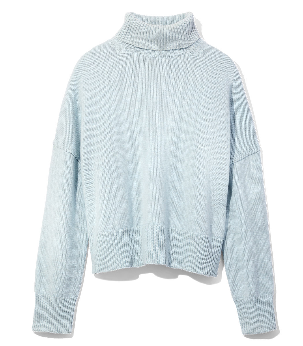Nili Lotan Light Blue Turtleneck Sweater - Light Blue Turtleneck ...