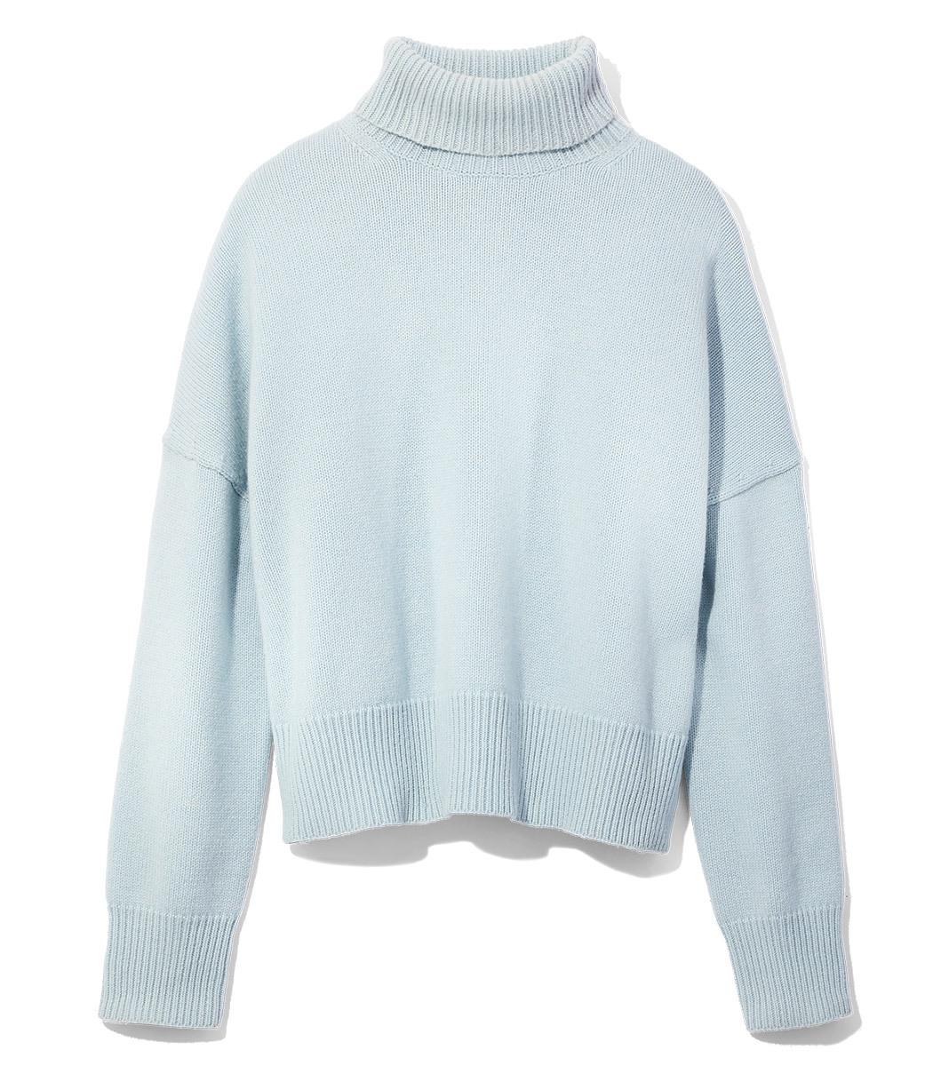 Nili Lotan Light Blue Turtleneck Sweater - Light Blue Turtleneck ...