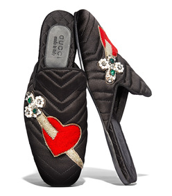black embroidered heart slide