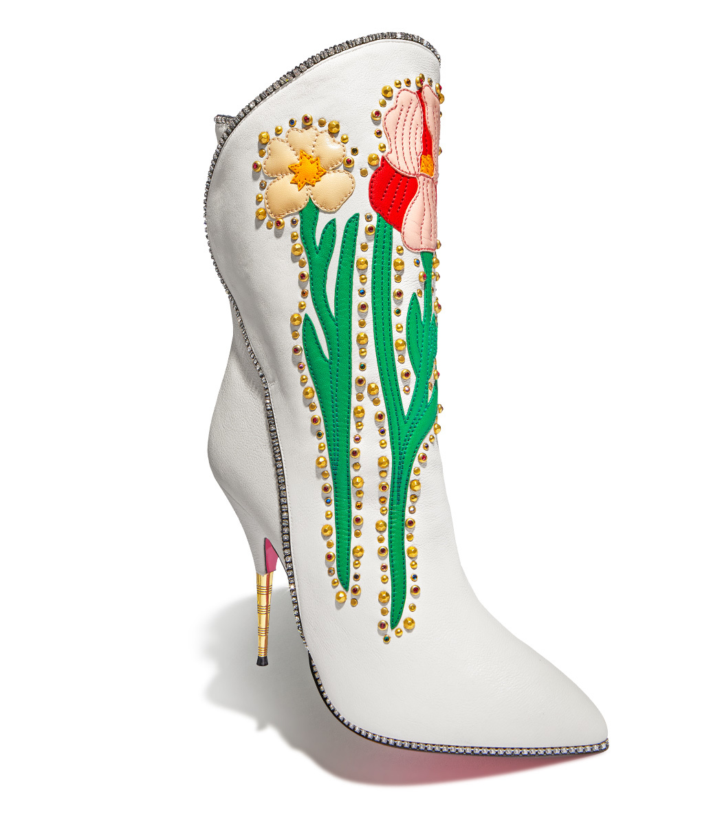 Fosca Appliquéd Embellished Textured-Leather Ankle Boots, White