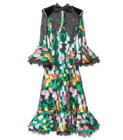 black multicolor organza dress