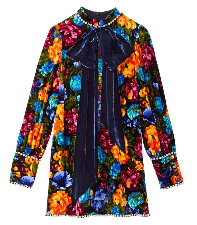 black multi floral dress