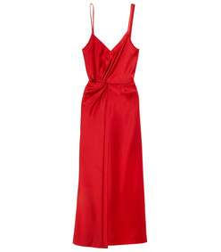 red draped dress