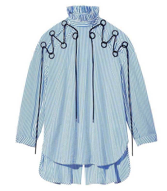 blue & white railroad striped top
