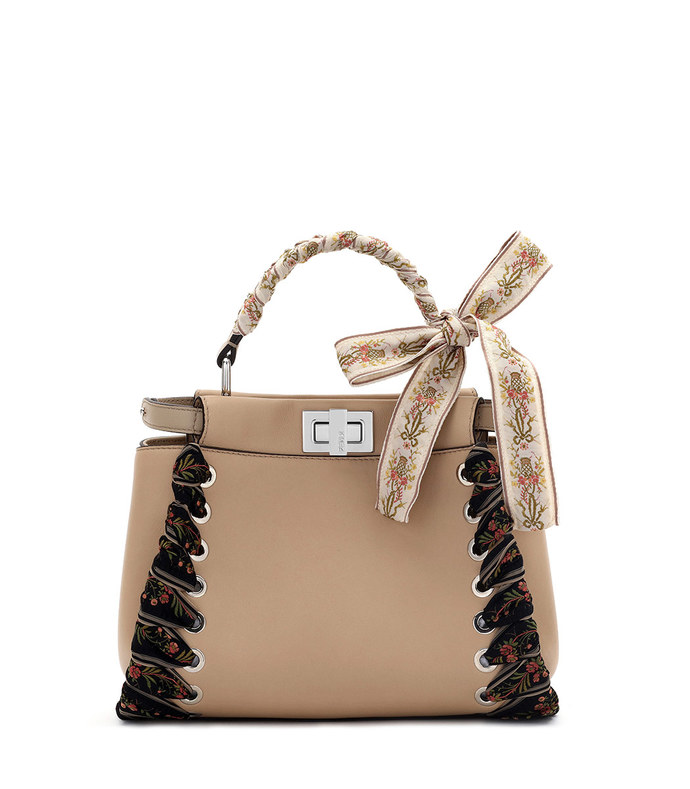 camel peekaboo ribbon stitch bag