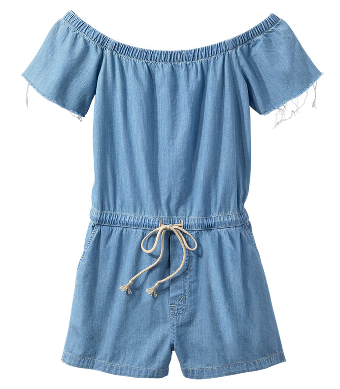 blue cold shoulder romper