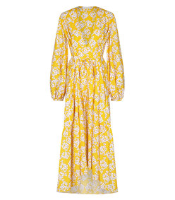 yellow printed tiered maxi dress
