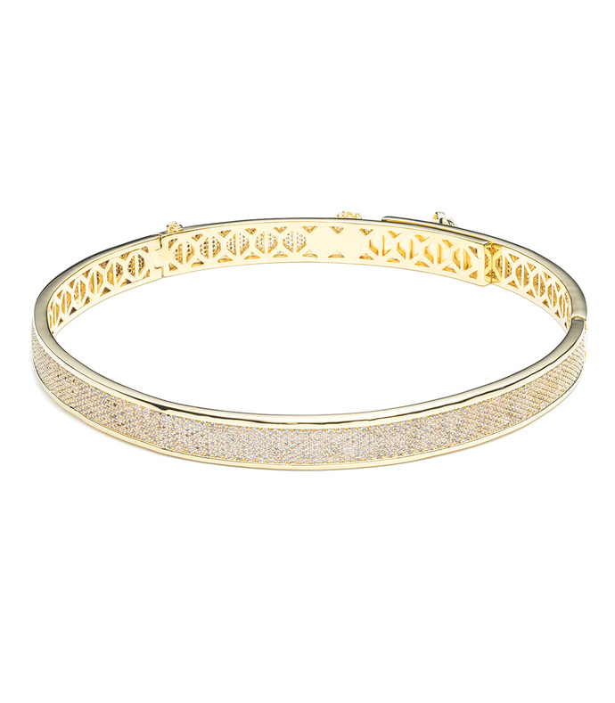 gold pave extra thin safety chain bracelet