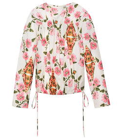 pink clematis floral blouse