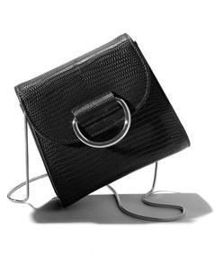 black lizard embossed saddle bag
